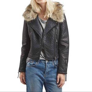 TOPSHOP Faux Fur Leather Moto Jacket